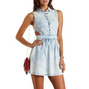 Chambray Cut Out Dress Charlotte Russe